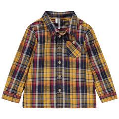 Μακρυμάνικο καρό πουκάμισο με τσέπη στο στήθος