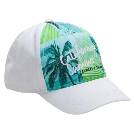 Καπέλο από τουίλ με στάμπα σε όλη την επιφάνεια με τροπικό τοπίο