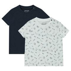 Σετ 2 κοντομάνικες μπλούζες, μία μονόχρωμη / μία εμπριμέ
