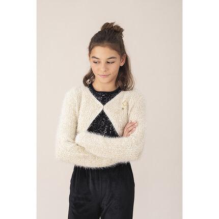 Junior - Gilet en tricot poil à étoile en sequins