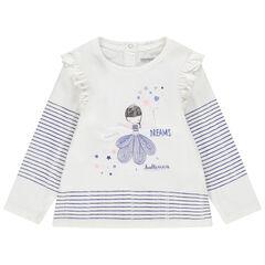 Μακρυμάνικη μπλούζα βαμβακερή με κεντημένη χορεύτρια και ρίγες