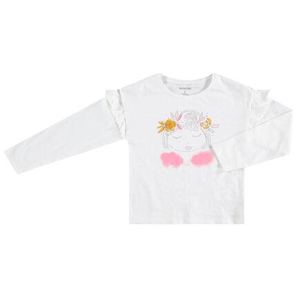 Μακρυμάνικη μπλούζα από ζέρσεϊ με τυπωμένο κοριτσάκι