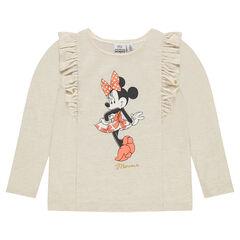 Μακρυμάνικη μπλούζα από λεπτή φανέλα με βολάν και στάμπα τη Μίνι της Disney