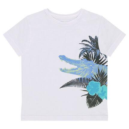 Κοντομάνικη μονόχρωμη μπλούζα από ζέρσεϊ με διακοσμητική στάμπα