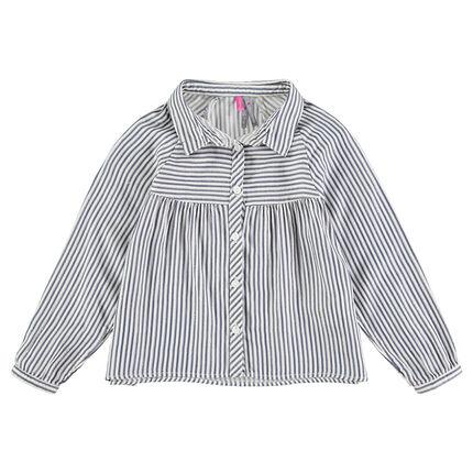 Μακρυμάνικο βαμβακερό πουκάμισο με ρίγες σε όλη την επιφάνεια