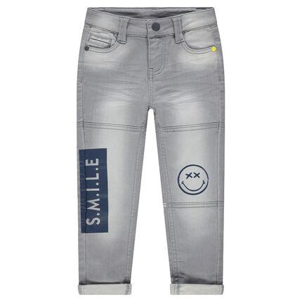 Παντελόνι από φανέλα με όψη used ντένιμ και στάμπες ©Smiley