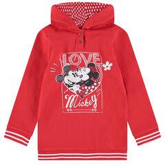 Μακρύ φούτερ από φανέλα με κουκούλα και στάμπα με παγιέτες με τον Mickey και τη Minnie της ©Disney