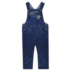 Salopette longue en molleton effet jeans