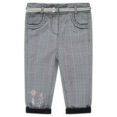 Παντελόνι καρό με επένδυση ζέρσεϊ και αφαιρούμενη ασημί ζώνη