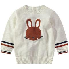 Εκρού πλεκτό πουλόβερ με τυπωμένο κουνελάκι και κούμπωμα στην πλάτη