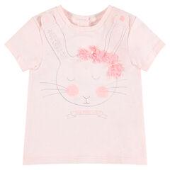 Κοντομάνικη μπλούζα από ζέρσεϊ με τυπωμένα ανάγλυφα κουνελάκια και λουλούδια