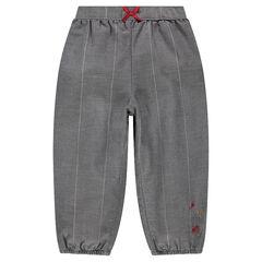 Παντελόνι με μεγάλα ασημί καρό και κεντήματα σε αντίθεση