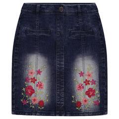 Φούστα τζιν ψηλοκάβαλη με φλοράλ κεντήματα