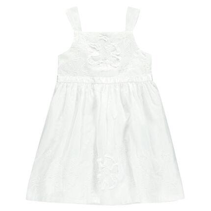 Λευκό φόρεμα από βουάλ βαμβακερό ύφασμα και τούλι