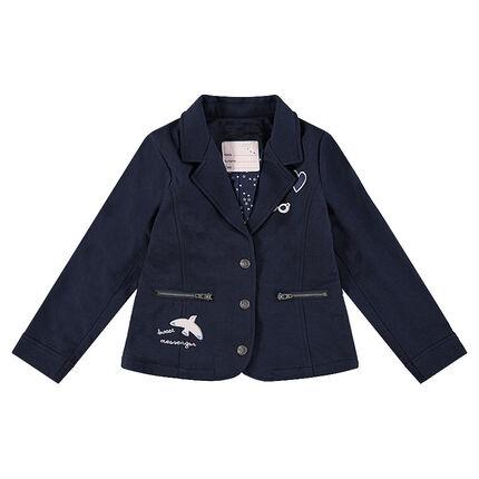 Σακάκι μπλέιζερ από φανέλα με σήματα και τσέπες με φερμουάρ