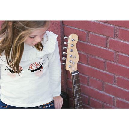 Μακρυμάνικη μπλούζα ζέρσεϊ με βελουτέ βλεφαρίδες