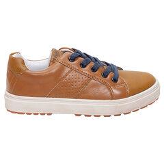 Χαμηλά αθλητικά παπούτσια από συνθετικό δέρμα με κορδόνια και φερμουάρ