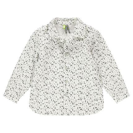 Μακρυμάνικο βαμβακερό πουκάμισο με εμπριμέ μοτίβο