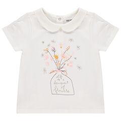 T-shirt manches courtes col Claudine print bouquet et fleurs , Orchestra