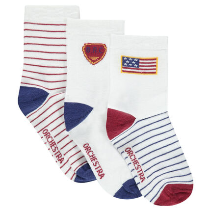 Σετ με 3 ζευγάρια ασορτί κάλτσες με μοτίβο και ρίγες
