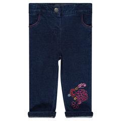 Φανελένιο παντελόνι σε στιλ τζιν με κεντήματα