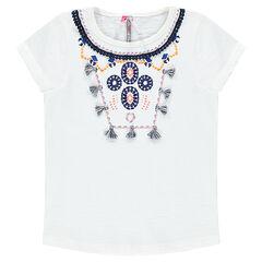 Κοντομάνικη μπλούζα με κεντήματα και φουντίτσες