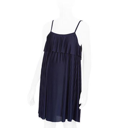 Πλισέ φόρεμα εγκυμοσύνης με βολάν