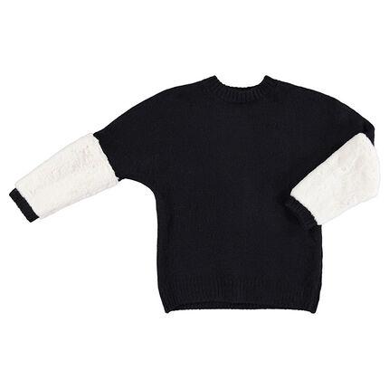 Παιδικά - Πλεκτό πουλόβερ με sherpa στα μανίκια