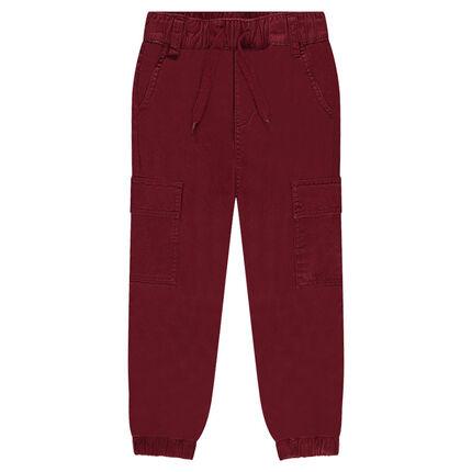 Παντελόνι μονόχρωμο από ύφασμα τουίλ με τσέπες