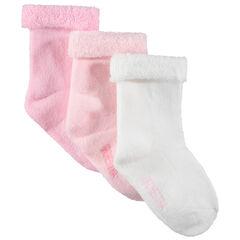 Σετ 3 ζευγάρια μονόχρωμες μπουκλέ πετσετέ κάλτσες