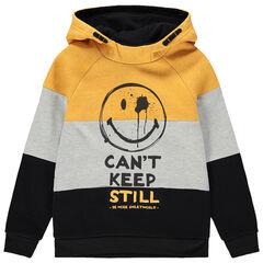 Παιδικά - Τρίχρωμο φανελένιο φούτερ με κουκούλα και στάμπα Smiley