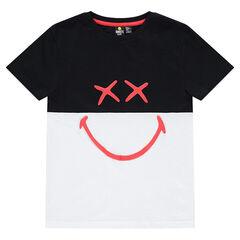 Παιδικά - Κοντομάνικη μπλούζα δίχρωμη από ζέρσεϊ με στάμπα ©Smiley