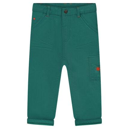 Βαμβακερό παντελόνι με τσέπη με καπάκι