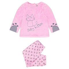 Μακρυμάνικη βελουτέ πιτζάμα με κεντητή γάτα και άνοιγμα ανάλογα με την ηλικία