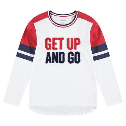 Παιδικά - Μακρυμάνικη μπλούζα από ζέρσεϊ με μπουκλέ φράση