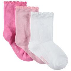 Σετ 3 ζευγάρια μονόχρωμες κάλτσες με φαντεζί ριμπ τελείωμα
