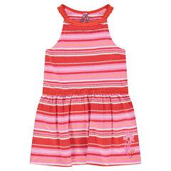 Ριγέ φόρεμα με σιρίτια από δαντέλα