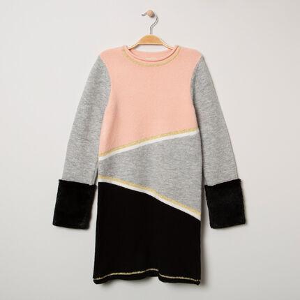 Παιδικά - Πλεκτό μπλουζοφόρεμα με συνθετική γούνα στις μανσέτες