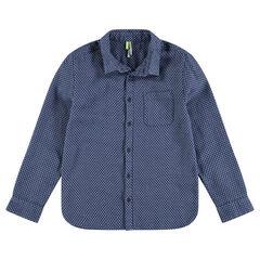 Παιδικά - Μακρυμάνικο πουκάμισο με μοτίβο και τσέπη