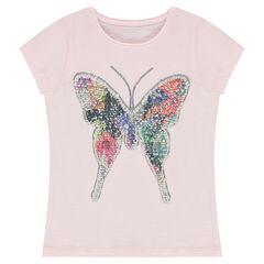 Κοντομάνικη μπλούζα από ζέρσεϊ με πεταλούδα από «μαγικές» πούλιες