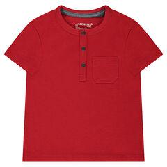 Κοντομάνικη μπλούζα από ζέρσεϊ slub ύφασμα με εξωτερική τσέπη