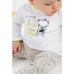 Σύνολο με μπλούζα με στάμπα αρκουδάκι και παντελόνι με μοτίβο  σε όλη την επιφάνεια