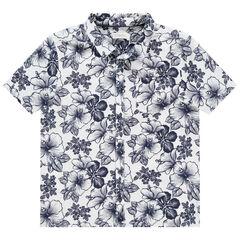 Chemise manches courtes en coton et lin à motif floral all-over , Orchestra