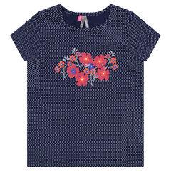 Κοντομάνικη μπλούζα με πουά μοτίβο και τύπωμα λουλούδια