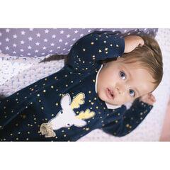 Βελουτέ φορμάκι ύπνου με τυπωμένα αστέρια και κεντημένο τάρανδο