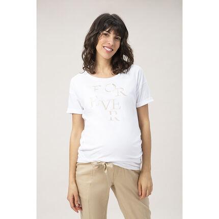 Κοντομάνικη μπλούζα εγκυμοσύνης με κεντημένο μήνυμα