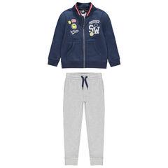 Jogging avec gilet à badges Smiley et pantalon gris chiné