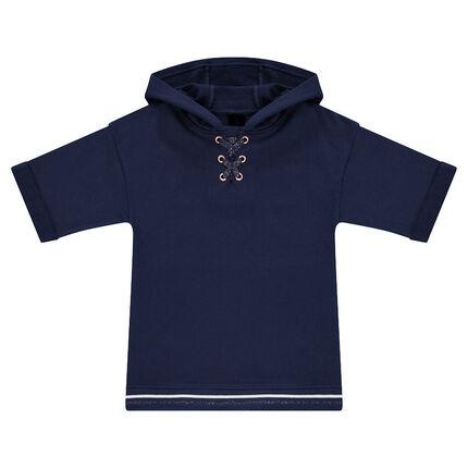 Παιδικά - Φανελένιο φούτερ με κουκούλα και φαντεζί κορδόνια