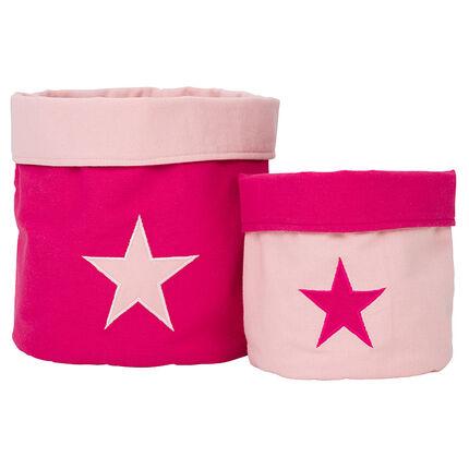 Σετ με 2 κουτιά φύλαξης με ύφασμα με σχέδιο αστέρια