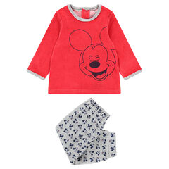 Βελούδινη πιτζάμα με στάμπα Mickey της ©Disney και μοτίβο σε όλη την επιφάνεια στο κάτω μέρος